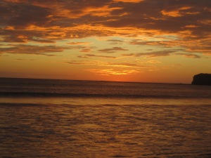 This was a typical sunset on the main beach of San Juan del Sur and was right out front of our hostel.