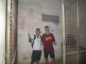 Coyotepe was so creepy that I had to make my way back there in order to show it to my brother Nick who is with me in this picture. If you can see the stain on the wall in the back that is actually a stain from blood because this was a room where they would tie you to the wall and perform diffrent types of torture on you.