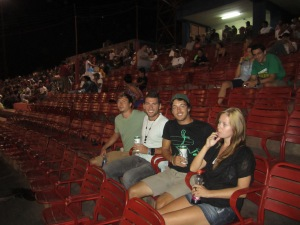 Jack, Ieuan, Sky and myself watching the The Granada Orientales take on the Managua Boer. I love how the name of the Orientales is almost a racial slur for asians and Boers are South Africans who have a Dutch background. In all fariness I don´t think the Cleveland Indians have an anymore appropriate name.