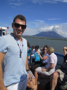 On the ferry bumping my electronic music with Volcan Concepcion behind me