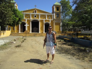 A picture in front of the church at Moyogalpa on our way to the ferry dock on Isla de Ometepe