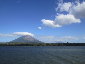 On the ferry heading over to Isla de Ometepe. The Volcano in the front is Volcan Concepcion and the one in the distance is Volcan Maderas.