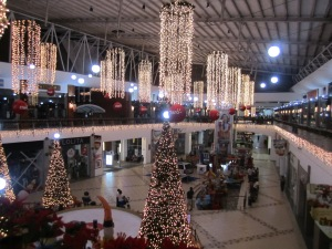 The view from inside the mall section of La Galeria in Managua. There was ots of Christmas stuff around until New Year´s Day.
