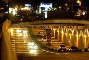 The entrance into the downtown section of Managua