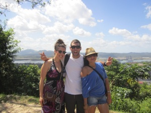 Doing the tiger with Alejandra and Kim with the Panama Canal below us