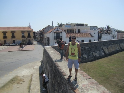 Will and I rented bikes in order to see more of the town. Here is a picture of me walking along the top of one of the walls that was meant tto protect the city from pirates such as Sir Francis Drake of Britain