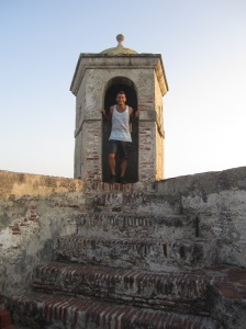 This tower is a part of the Fort of San Felipe that overlooks all of cartagena