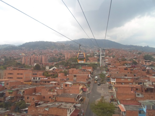 The view from the gondola  taking us to the top of the city of Medellin.