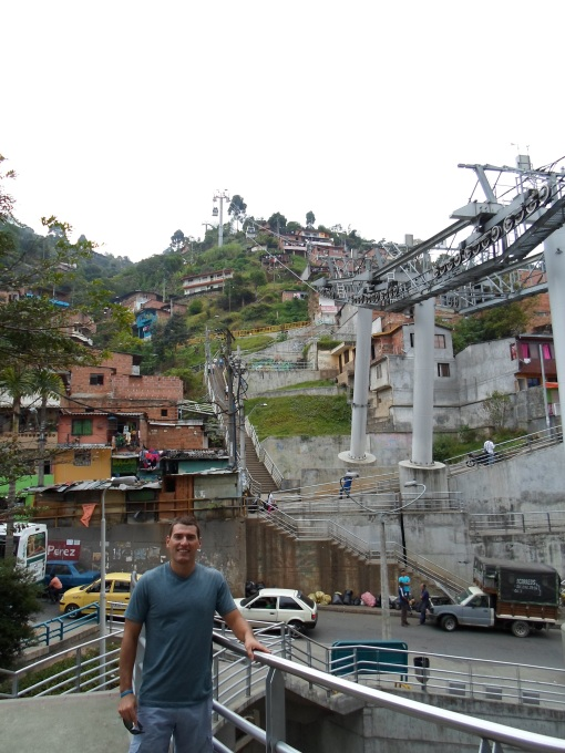 Standing in an area of Medellin where one needs to transfer to another gondola. I have ben told that tourists do not want to walk through this area