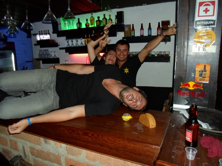 Will and I have been joking about how many people think that if you step foot into Colombia then you will die. We have decided to take photos of Will dead in numerous areas of Latin America to help keep these beliefs alive. Here is Will dead  on top of a bar in Medellin