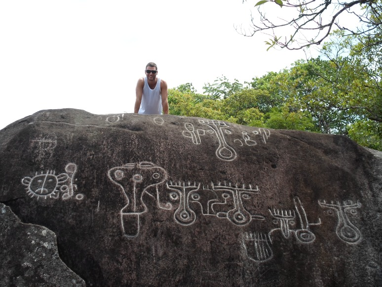 These have been chalked in but are actually pre-colombian symbols only a 50 minute drive from the Lost and Found hostel