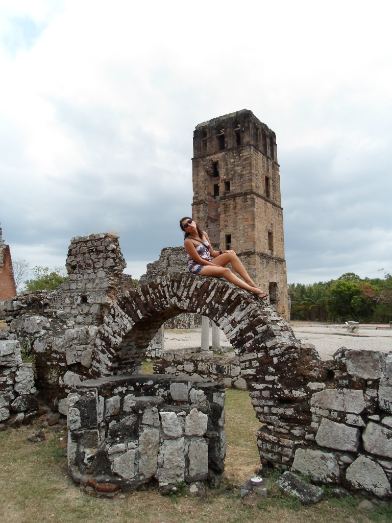 Alejandra poses in front of the Cathedral in Panama Viejo. This city was founded in 1516 and is the oldest colonial city on the Pcific Coast of the New World. It lays in ruins because of the efforts of the famous pirate, Captain Morgan, who managed to take over the city for many years.