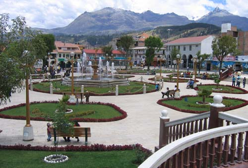 The beautiful Plaza of Armas in the center of Huaraz. One of my favourite things about Latin America is that any town that has even just a few thousand people has a central plaza where everyone goes to relax and socialize.