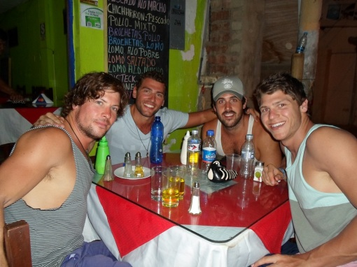 Out for dinner at one of our favourite restaurants with Olli, myself, Will and the super guapo Devin Delany