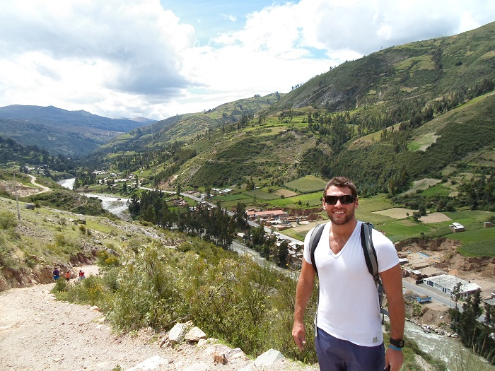 Agustin snapped a picture of me as we began our climb away from town and towards a lagna where one can see a view of the famous Cordillera Blanca as well as the city of Huaraz