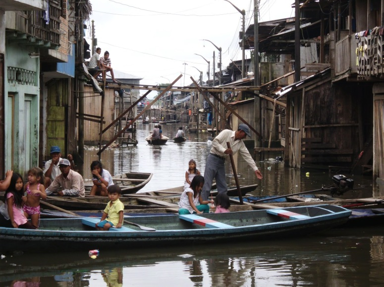 Here is a picture of the floating shanty-town, Belen,  on the outskirts of the city of Iquitos on the Amazon River. Building houses on the Amazon River is illegal so the people here are able to evade property taxes. Life is difficult in this district and most people have hardly enough to make it through the day.
