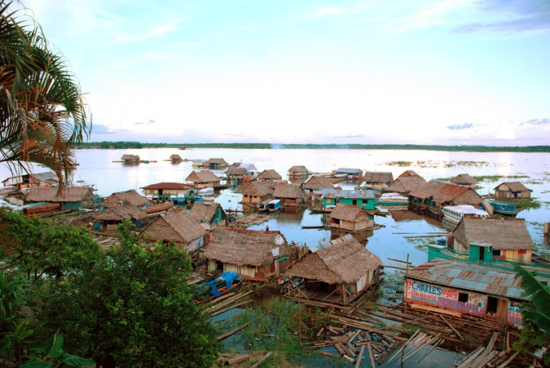 One of the nicer sections of Belen on the Amazon River