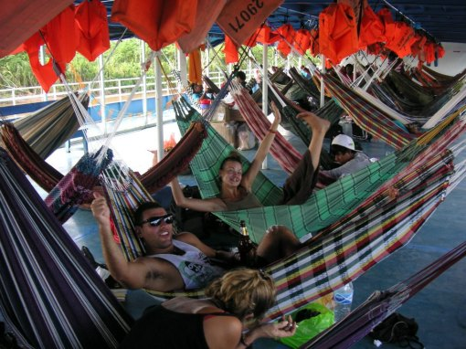 Relaxing on the boat with Audrey and Manu as we make our way down the Amazon River